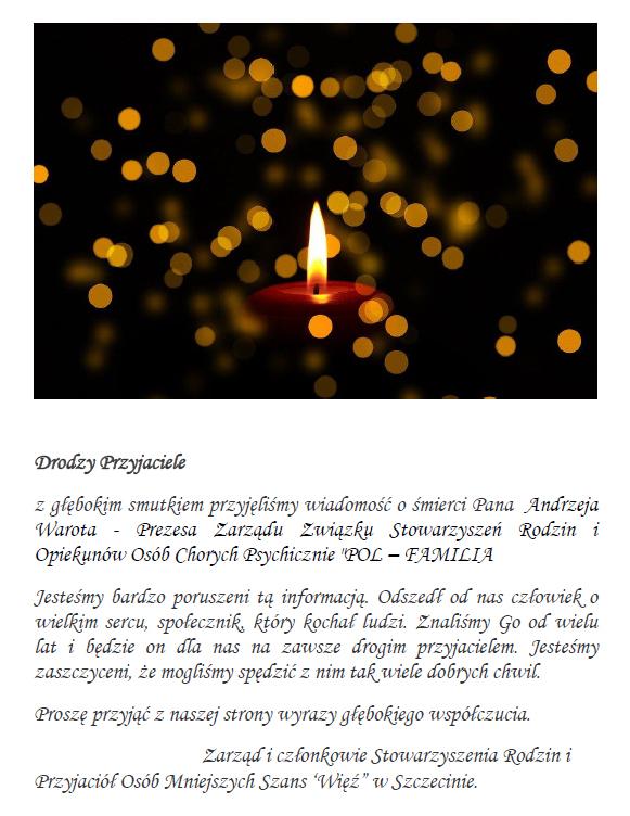 kondolencja Andrzej Warot